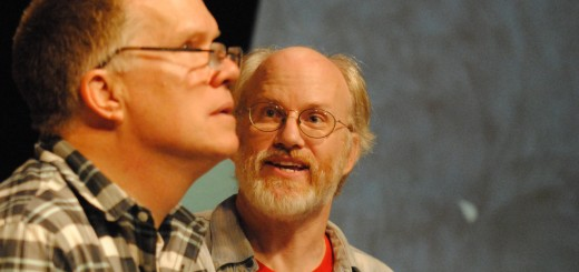 "Sidney Lipton (Steven Marsh), right, tries to convince Joe Benjamin (Tom Doman) to denounce God and end his struggles in the play ""God's Favorite."" (Photo by Robert Herrington)"