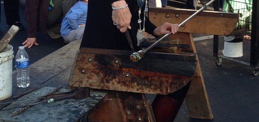 Potter works on her glass artwork (Photo by Brian Kelly)