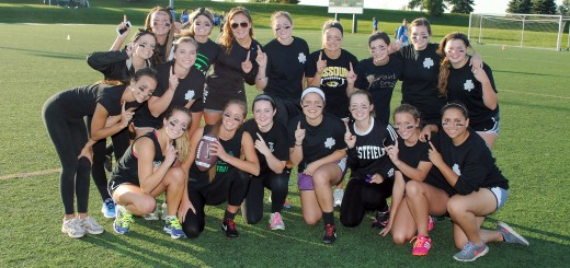 The senior class was excited to take the field prior to the start of the annual Powder Puff games on Sept. 18.