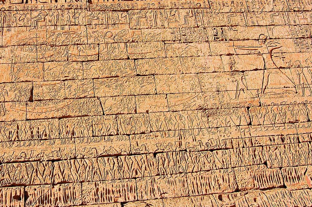 Wall at Medinet Habu Showing Ramses III Battling the Sea People (Photo by Don Knebel)