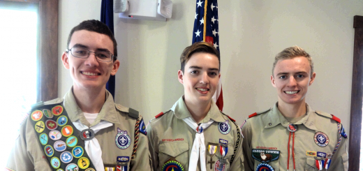 (From left) Michelle Carroll's sons Sean, 19, Robert, 17, and Michael, 14, of Carmel, have reached the Eagle Scout status. (Submitted photo)