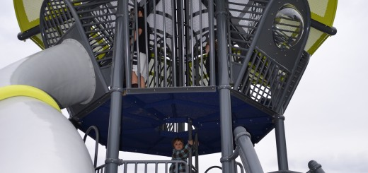 Children play on new playground equipment during the grand re-opening of Holland Park at One Park Dr. in Fishers. (Photo by Ann Craig-Cinnamon)