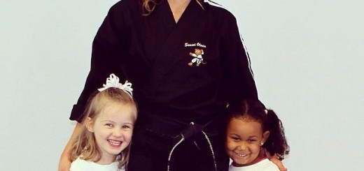 Olivia Roney Spahn, center, CEO and founder of Crouching Tigers, with two of her students. (submitted photo)