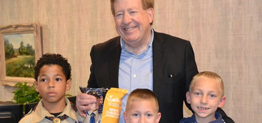 Mayor Jim Brainard stands with Jayden Joyce, Chase Clem, and Caleb Clem. (Submitted photo)