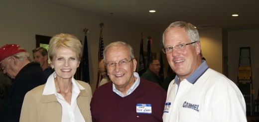 Former Carmel High School football coach Dick Nyers (center) with book authors Pam Otten and Dan Chapman. (Submitted by Michael Easterday)