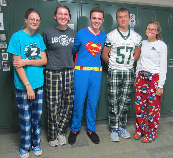 As a celebration for last Friday's homecoming, ZCHS students and faculty participated in Spirit Week.  The categories for each day included PJ Day, Tacky Tourist Day, Class Color Day, Jersey Day and Black Out Friday.