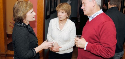 From left: Tammy Horkay talks with Jan and Doug Holtz inside The Fern.