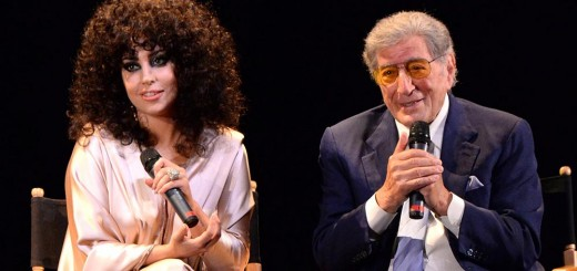 "Lady Gaga, left, and legendary singer Tony Bennett make a surprise appearance at Frank Sinatra School of the Arts earlier this summer. The two released their ""Cheek to Cheek"" album in September. (Submitted photo)"