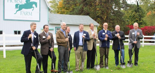 Republic Development & Builders stand together as they break ground. From left to right: Richard D. Arnos, the president of Republic Development, Michael Luedke of Custom Classic Collection by David Weekley Homes, Brad Love of Wedgewood Building Company, Jeff Langston of Old Town Design Group, Justin Moffitt of Old Town Design Group, Randy McNutt of Design Gallery by Drees Homes, John McKen- zie of McKenzie Collection, Paul Estridge of Estridge Homes, and Lawrence M. Moon, Indiana residential division president of Republic Development. (Photo by James Feichtner)