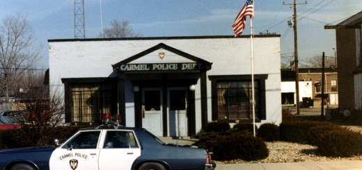 A Carmel Police Dept. vehicle in front of what used to be police headquarters. (Submitted photo courtesy of the Carmel Clay Historical Society)