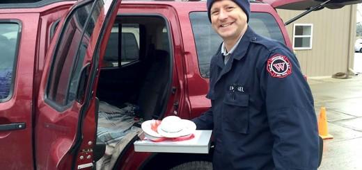 Westfield Firefighter/EMT Derek Michael helps pass out smoke detectors at Westfield Public Works on Nov. 22.