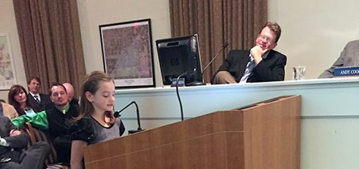 "Washington Woods Elementary fourth grader Charlotte Greer explains to the Westfield City Council how ""The 7 Habits of Happy Kids"" has impacted her life. (Submitted photo)"