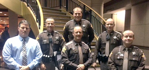 From left, bottom row: Lt. Tom Logan, Sheriff Mark Bowen and Deputy David Needham; middle row: Deputy John Cline and Deputy Nate Biddle; and top row: Deputy Kevin Crask. (Submitted photo)