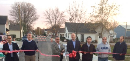 Mayor-elect Scott Fadness (center) and town officials at ribbon cutting ceremony. (Photo by Beth Taylor)