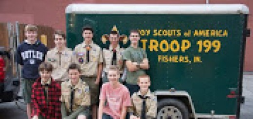 Members of Fishers Boy Scout Troop 199 started the Good Turn for Goodwill service program four years ago. Top row, Blake Johnson, Michael Ratts, Alex Hobson, Brad Carothers, Jared Studer; Bottom row, Jacob Bennett, David Leuther, Parker Studer, Rory Peters. (submitted photo)