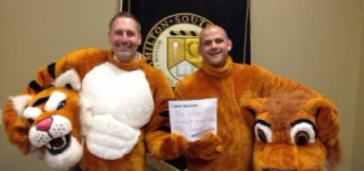 Fishers High School Principal Jason Urban (left) and HSE Principal Matthew Kegley participate in the unselfie movement. (Submitted photo)