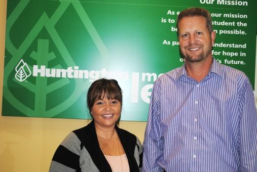 From left, Lindsay Brabb and Kurt Spitler guide Carmel's Huntington Learning Center (Photo by Mark Ambrogi)
