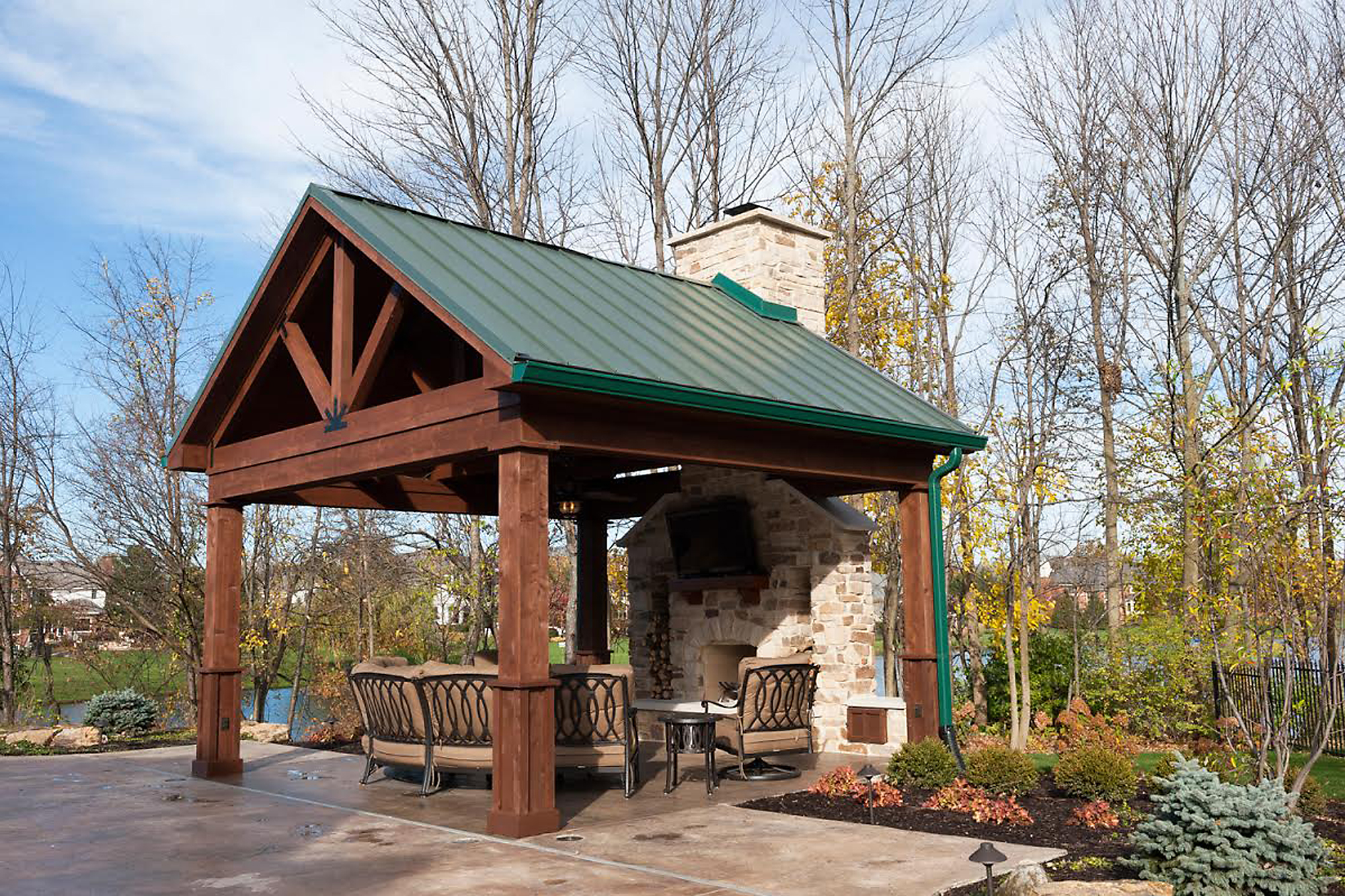 Column pool gazebo adds functionality rustic features for House with pool on roof