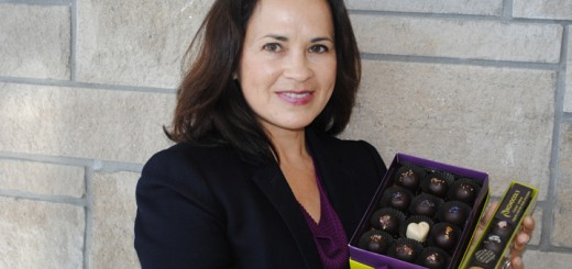 Joann Hofer displays her award-winning chocolates. (Photo by Mark Ambrogi)