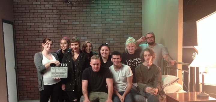 Laura Baker (back row, center) and students from Columbia College prepare for filming. (Submitted photo)