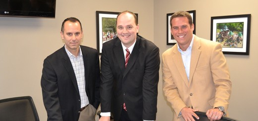 From left, Jeff Hill, director of engineering, Mayor Scott Fadness and Chris Greisl, city attorney look ahead to new opportunities for Fishers. (Photo by John Cinnamon)