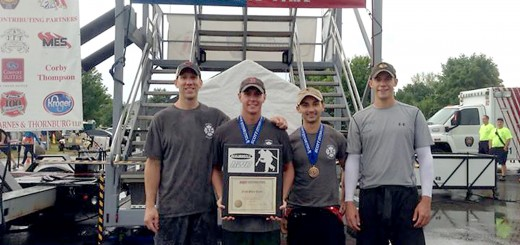 Matt Hansen, Justin Anderson, Kyle Ericksen and Jeremy Devitt helped the Westfield Fire Combat Challenge Team earn second place in the nation and 17th at the world championships in Phoenix. (Submitted photo)