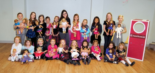 The afternoon session of the inaugural American Girl tea party program included 22 girls and their dolls.