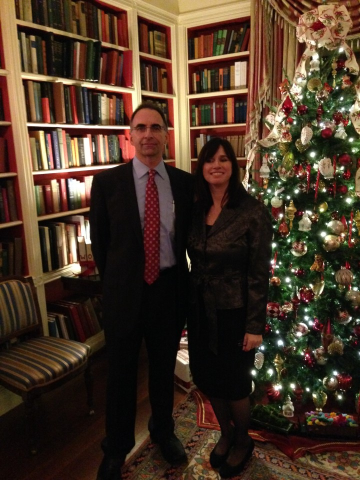 """Jenny and Howard Levitin at the reception in the White House library. """"I worked on the tree behind and the garland around the mantle in that room,"""" Jenny said. (Submitted photo)"""