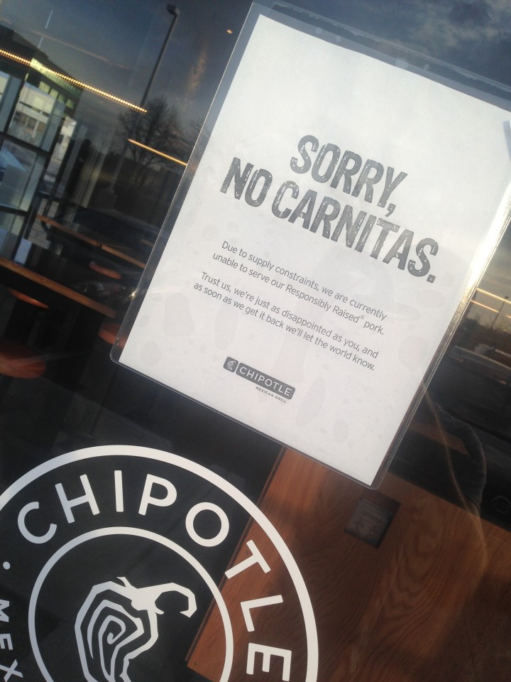 A sign on the door states it clearly, no pork carnitas for diners. (Photo by Adam Aasen)