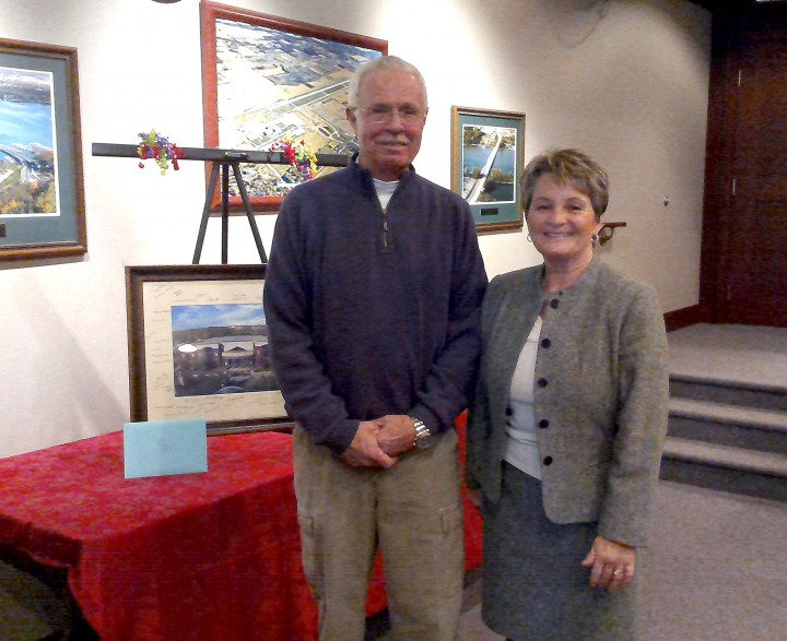 Tim and Peggy celebrate her 30 years of public service at her retirement party. (Submitted photo)
