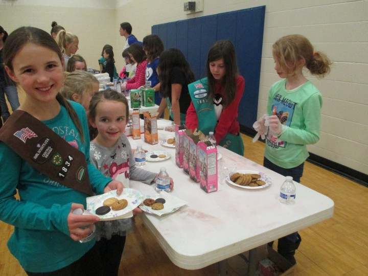 zionsville girl scouts sample new cookie prepare to sell