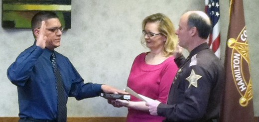 Merit Deputy Juan Munoz is sworn in by Hamilton County Sheriff Mark Bowen on Jan. 12. (Submitted photo)