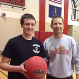 Ethan Hale-Pate (left) and club sponsor Lee Banitt before a recent Dodgeball Club session (Submitted photo)