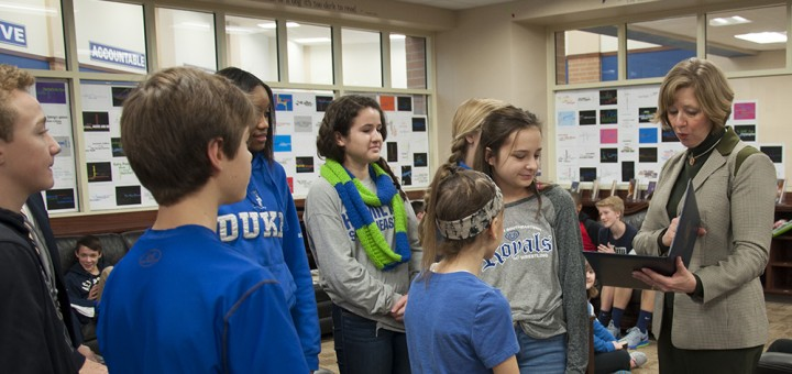 Rep. Susan Brooks tours HSJH with students. (Photo by Heidi Schmidt)