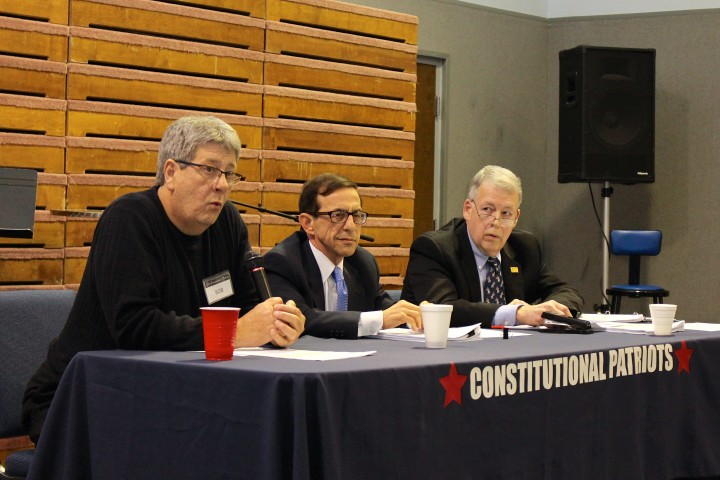 From right to left, Patriot members Dwight Lile, John Accetturo, Bob Wallace. (Photo by James Feichtner)