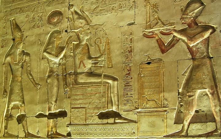 Pharaoh Ramses II with Horus, Isis and Osiris at Abydos. (Photo by Don Knebel)