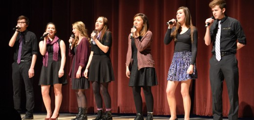 "Andrea Richardson, Jonny Robinson, Katie Sinicki, Cameron Todd, Kayla Welch, Rhyan Radabaugh and Lily Wessel sing ""Royals"" by Lorde A capella and won second place. (Submitted photos)"