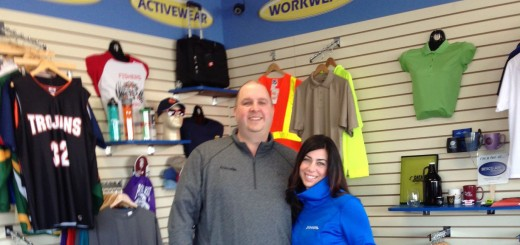 Jeff and Dina Slain in EmbroidMe's showroom, 9520 E. 126th St. (Submitted photo)