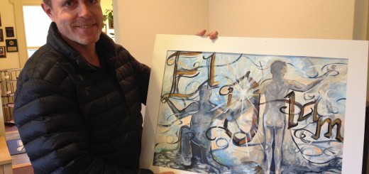 Mike Oisten with the painting by Jen Bubp. (Submitted photo)