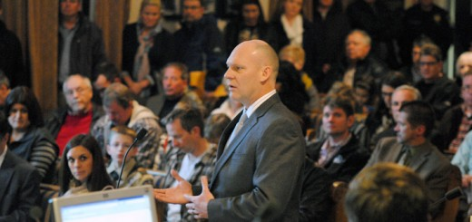 Jeff Harpe, mayoral candidate who filed an open-door lawsuit on Dec. 10, voices his feelings against the proposed $53 million indoor soccer facility at Grand Park for a second time at the Feb. 9 Westfield City Council meeting. (Photo by Robert Herrington)