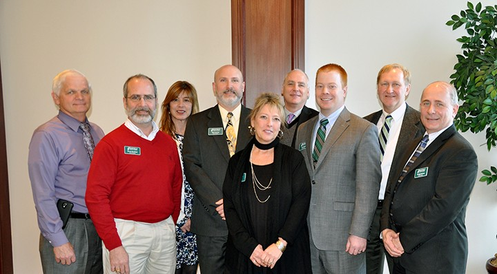 Westfield Chamber of Commerce Executive Director Julie Sole, center, is joined at the group's January luncheon by 2015 board members (from left) Nick Verhoff, Kevin Buchheit, Terri Flood, Rob Garrett, Tom Warner, Tom Dooley, Eric Lohe and Dwight DePeau. Not pictured are board members Karen Keinsley, Andi Montgomery, Eric Douthit, Pat Fox, Bob Robey and Jeff Sinclair. (Photo by Mark Robinson)
