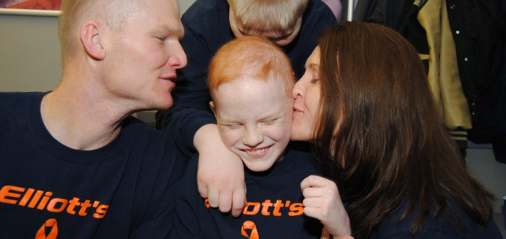 Elliott Ogle has the support of his family (Jay, from left, Owen and Rebecca) and the Westfield community as he battles leukemia. (Photo by Robert Herrington)
