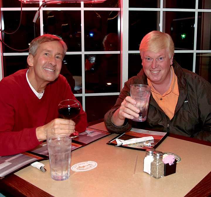 Geist-area residents Ed Payntor and Randy Frieling enjoy a night at Eddy's (Photo by Heidi Schmidt)