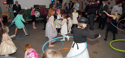 Girls participate in the annual hula hoop contest during the middle of the dance.