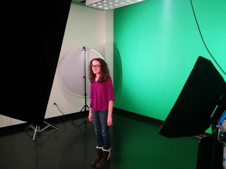 Zionsville West Middle School seventh-grader Alana Case-Brown films her message about internet safety. (Submitted Photo)