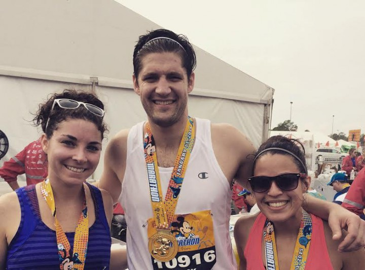 Friend Jessi Ellis, Zack Bernas and Amanda Dils after the Disney Marathon. (Submitted photo)