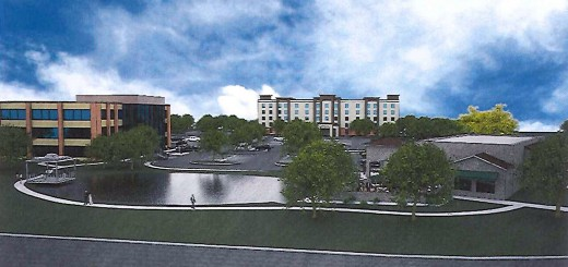 A rendering of the projects shows the water feature and from left, mixed-use professional building, hotel and restaurant. (Submitted rendering)
