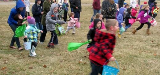 Children race to gather eggs on the Hamilton County 4-H Fairgrounds, 2003 Pleasant St., Noblesville.