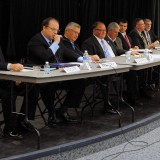 From left: Westfield city council district candidates Steve Hoover, Bob Beaudry, Joe Edwards, Bob Smith, Chuck Lehman, Daniel McKinney, Brian Ferguson and Bob Horkay. (Photo by Robert Herrington)