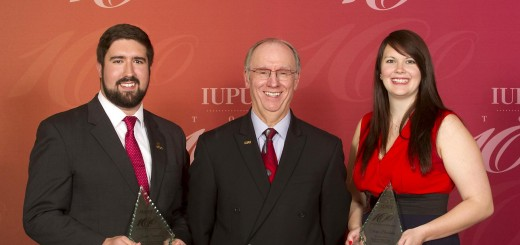 From left: Westfield's Joseph Spaulding, IUPUI Chancellor Charles Bantz, and Corinne Blackburn of Hobart. Spaulding and Blackburn were named the most outstanding male and female students at Indiana University-Purdue University Indianapolis for 2015. (Submitted photo)